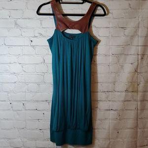 Akiko Emerald Green Sleeveless Leather Strap Dress